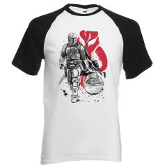 Tricou Raglan The Mandalorian Lone Hunter And Cub