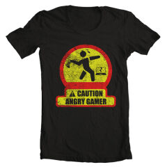 Tricou Caution Angry Gamer